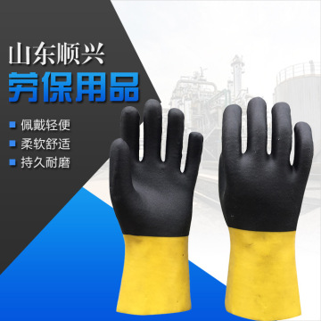 Two-color PVC gloves with sandy Finish