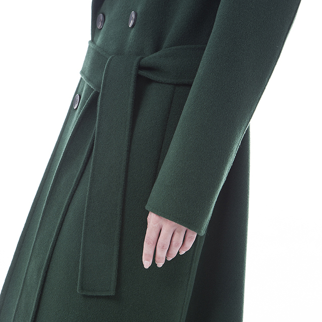 Front of green cashmere overcoat