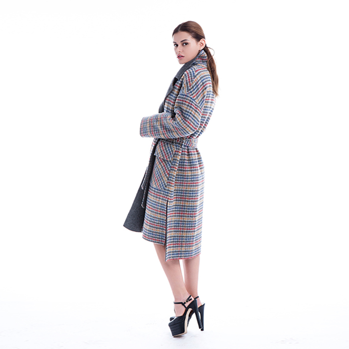 Coloured checked winter coat