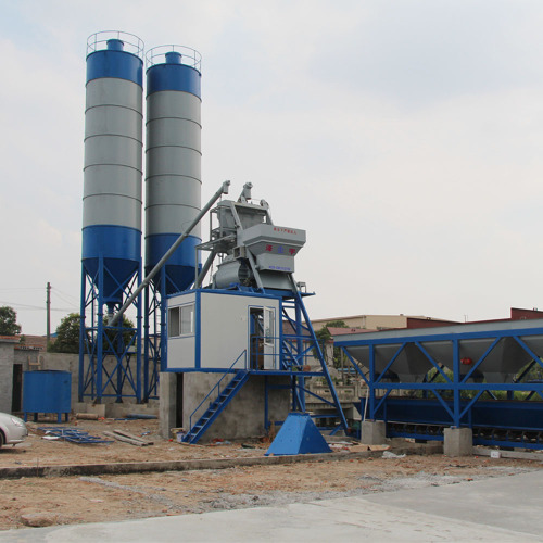 25m3/h stationary type small concrete batching plant