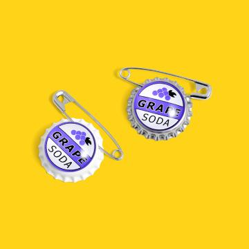 GRAPE SODA BEER BOTTL creative cartoon round brooch cut pin summer grape beer badge enamel fruit jewelry gift creative fresh