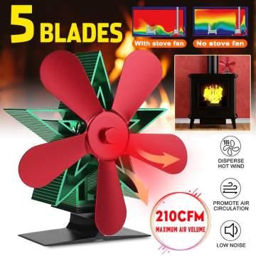 Christmas Tree Type Fireplace Fan 5 Blade Heat Powered Stove Fan Log Wood Burner Eco Friendly Quiet Fan Home Heat Distribution