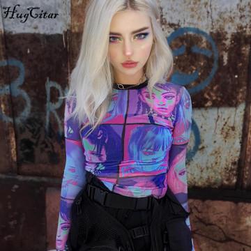 Hugcitar 2020 Cartoon print mesh see-through sexy tops spring summer women fashion streetwear outfits T-shirts chic club wear