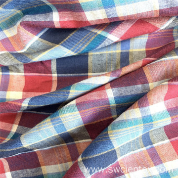 Colorful 100% Rayon Checked Yarn Dyed Plaid Fabric