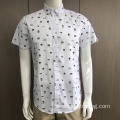 Men's stand-up collar short sleeve print shirt