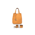 New Fashion Handmade Portable Women Leather Bucket Bag