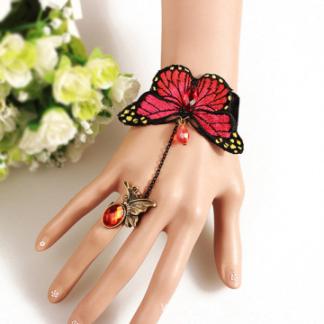Romantic Butterfly Lace Charm Bracelet With Ring On A Chain