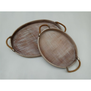Oval Wooden Plate Set With Jute