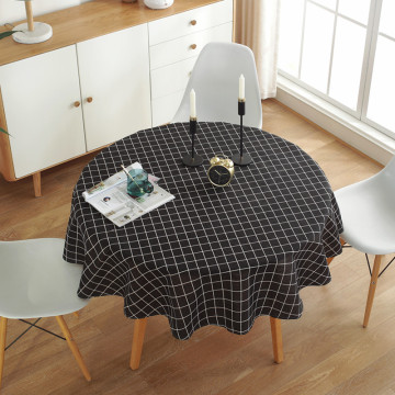 Nordic Simple Style Black and White Grid Christmas Pattern Washable Thick Polyester Cotton Round Table Cloth