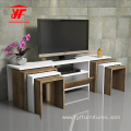 Wooden Modern TV Stand with Chairs