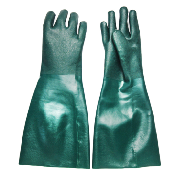 Green PVC chemical resistant gloves