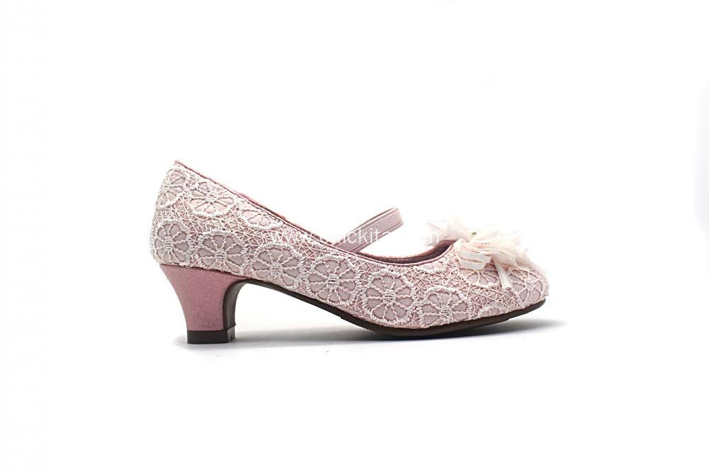 Girls Party Shoes with Silk Flowers Decoration