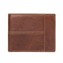 Retro Cow Leather Men Wallets Top Quality Brown Male Purse Function Brown Genuine Leather Men Wallet with Card Holders