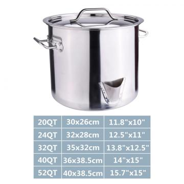 52QT Stainless Steel Stock Pot with Lid