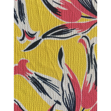 Tropical Design Polyester Bubble Crepe Printing Fabric