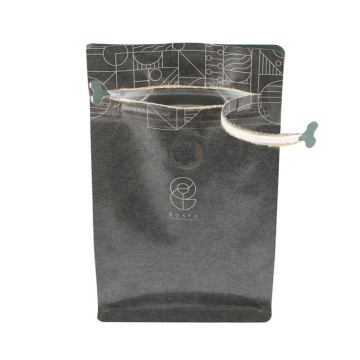 Kraft paper coffee bag with zipper and valve