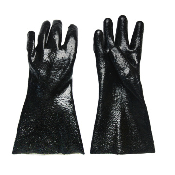 Black Single Dipped. Rough Finish.Gauntlet PVC Glove