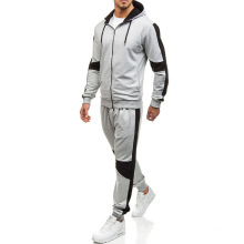 Men Zipper Patchwork Hoodie Pants Sets