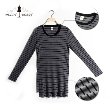 Women Blouse Long Sleeve Striped Long Sweatshirt
