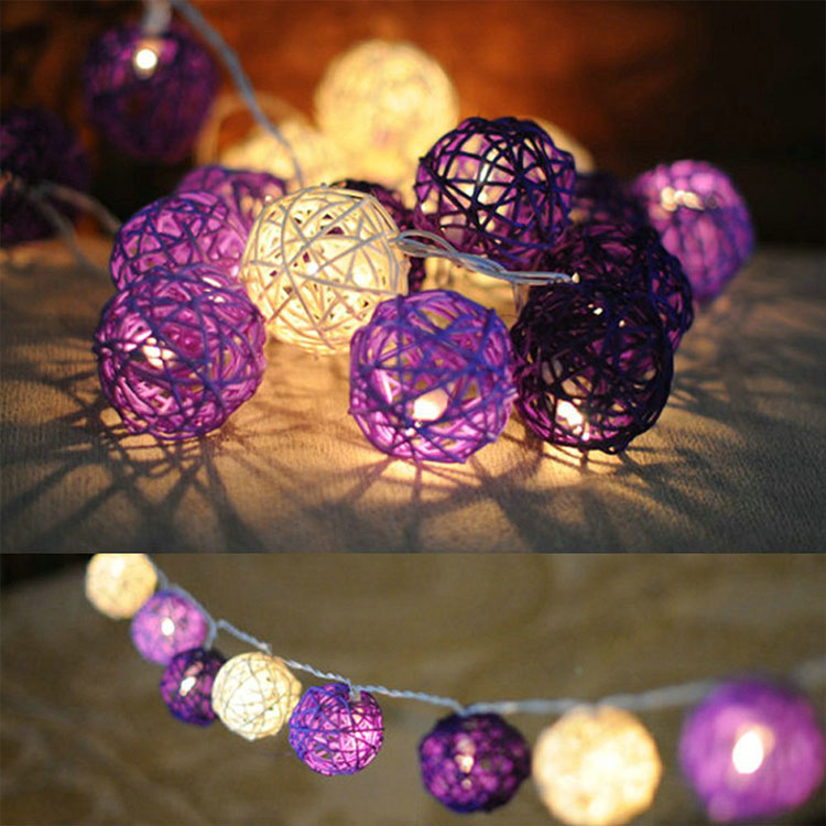 party favor rattan ball christmas holiday string light