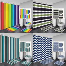 Bipoobee Multicolour Stripes Fabric Shower Curtain Bathroom Curtains Set Anti-skid Rugs Toilet Lid Cover Bath Mat Home Decor