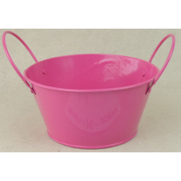 Candy-colored binaural tin flower bucket