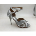 Girls Silver Latin Shoes With High Heel