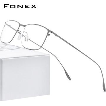 FONEX Titanium Alloy Glasses Frame Men Square Myopia Prescription Eyeglasses Frames 2020 New Full Optical Korean Eyewear 8105