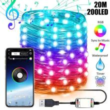 USB LED String Light Bluetooth Control Street garland String Lamp Waterproof Outdoor Fairy Lights for Christmas Tree Decoration