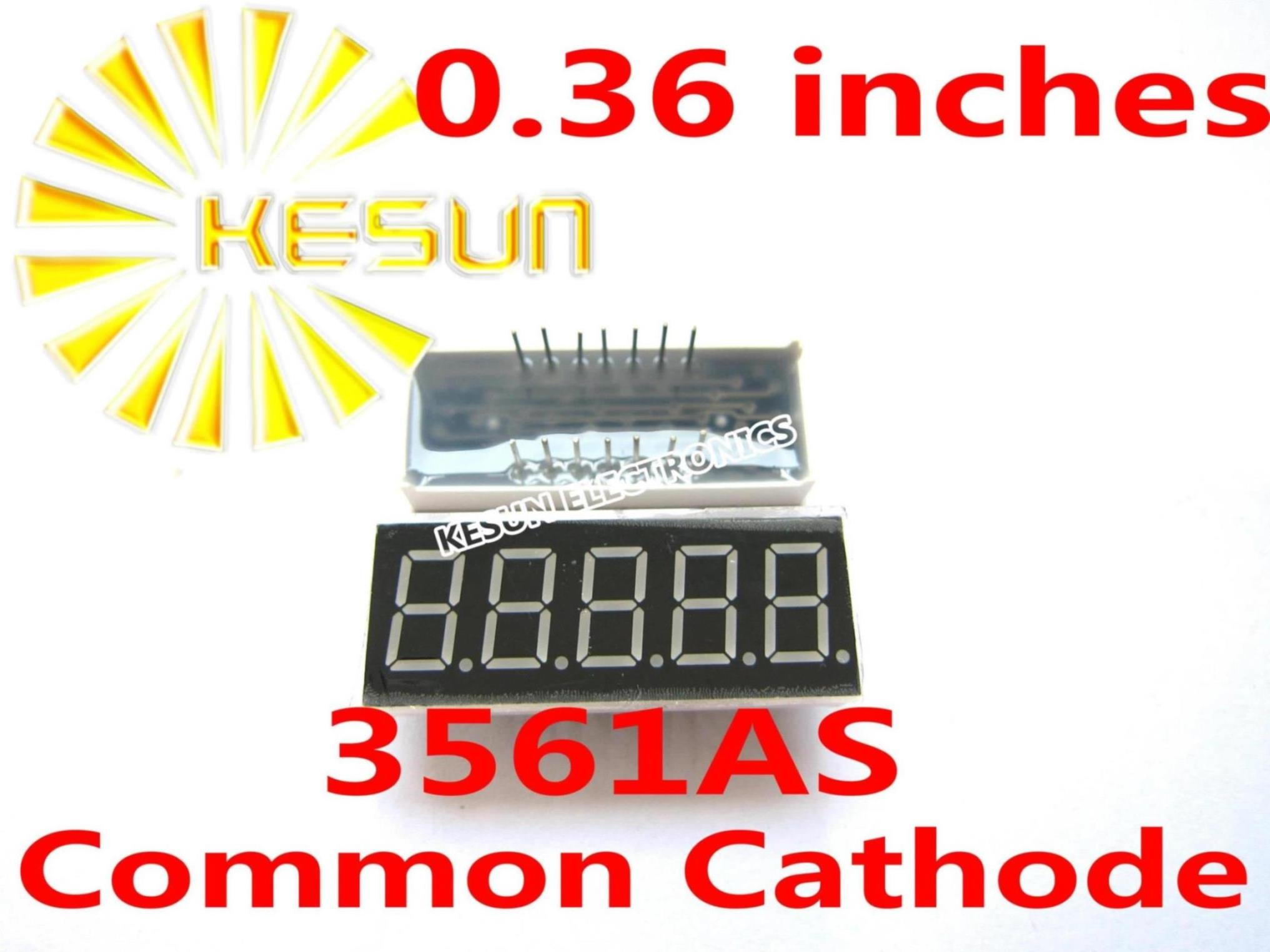 5PCS x 0.36 inches Red Common Cathode/Anode 5 Digital Tube 3561AS 3561BS LED Display Module