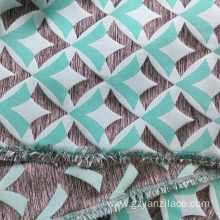 Blue Satin Geometric Jacquard Fabric