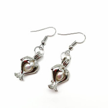 Concise Style Double-Dolphin Shaped Cage Pendant Earrings