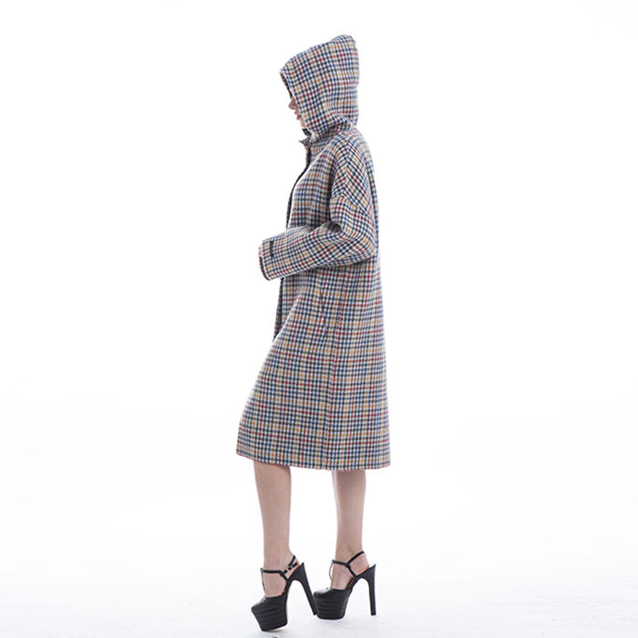 Colored checked cashmere winter dress side