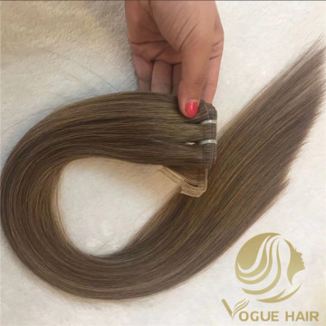 Light brown remy human flat weft hair