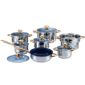 14 PCS Cookware Set with Gold-Plated Handles