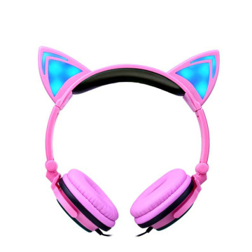Auriculares leves da orelha de gato do auscultadores do flash de Cosplay do diodo emissor de luz