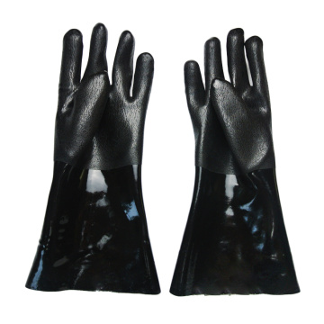 Black PVC Dipped glove Sandy finish jersey lined14''