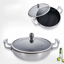 Hindi kinakalawang na Steel Binaural Nonstick Pan