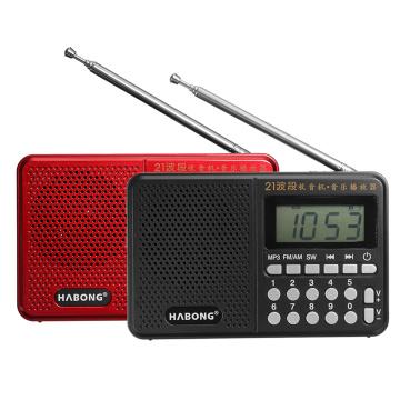 Portable Radio FM/AM/SW 21 Bands Digital Key Selection Mini Telescopic Antenna Pockets MP3 TF USB Receiver Speaker Outdoor