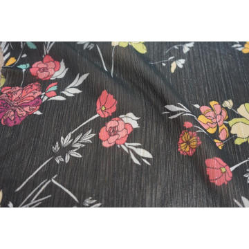100% Polyester Chiffon Yoryu with Lurex Print Fabric