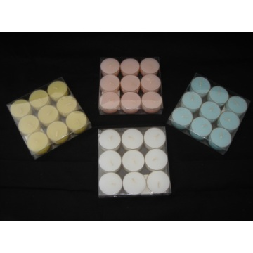 PVC Box Packed Plastic Cup Colored Tealight Candle