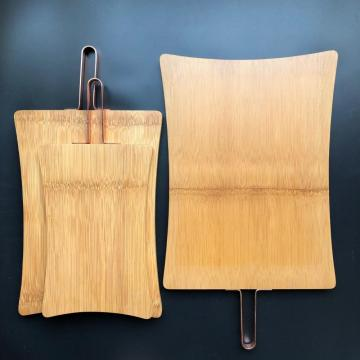 Bamboo cutting board with metal handle