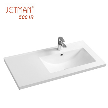 Porcelain material bathroom square table right wash hands counter top basin