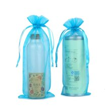 blue gift packing drawtring organza pouch