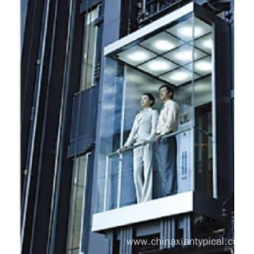 Square Panoramic Elevator with Glass Lift Cabin