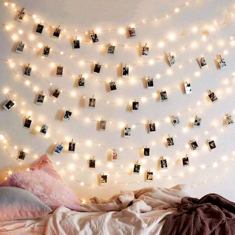 running photo clip string lights