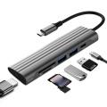 6 in 1 USB C HUB, Docking Station Includes 1XSD + 1XTF + 2XUSB 3.0+ 1XHDMI + 1XPD for PC Laptop
