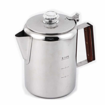 Stainless steel coffee pot with filter