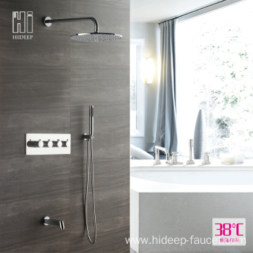 HIDEEP Bathroom Shower Thermostatic Rain Shower Faucet Set