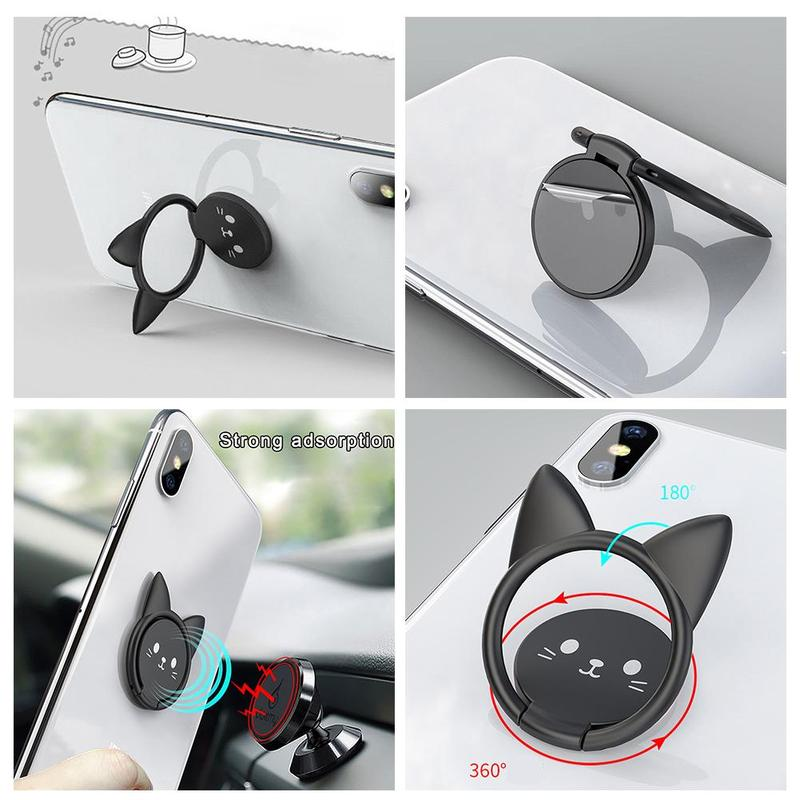 Metal Finger Ring Holder Mobile Phone Smartphone Car Cat Stand Holder Magnetic Accessories Bracket Bracket Cute Mount Stand T8T9